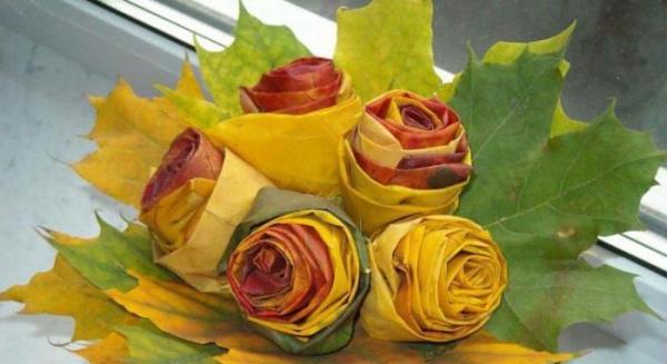 Цветы из дубовых листьев своими руками 54